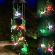 LED Solar Hummingbird Wind Chime Color Changing Waterproof Windchimes Home Decor