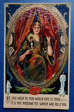 OLD ISL HALLOWEEN POSTCARD with FORTUNE TELLER Made In Germany