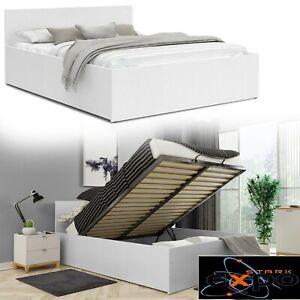 Bett mit Lattenrost+ Matratze140x200 Doppelbett  Bettkasten weiss,beste Qualität