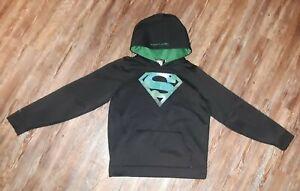 Under Armour boys black hoodie with green Superman logo size YXL