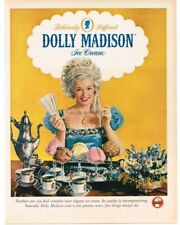 1960 DOLLY MADISON Ice Cream Woman Wears Colonial Dress White Wig VTG PRINT AD