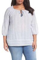 Caslon Print Cotton Tie Neck Peasant Blouse Top Women's Size Small NEW