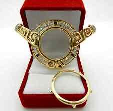 VINTAGE 18K YELLOW GOLD DESIGNER STYLE COIN FRAME PENDANT SAPPHIRE & DIAMOND