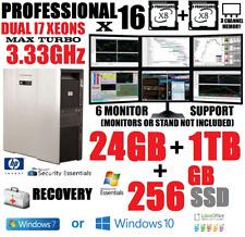 HP XEON I7 8 CORES (16-PROCESSOR) 6-MONITOR TRADING COMPUTER w/24GB✓256 SSD+1TB