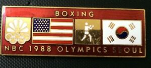 NBC GUEST 1988 Seoul Olympic Commemorative Pin Summer XXIV Olympiad USA BOXING