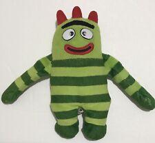 """Ty Brobee Plush Yo Gabba Gabba Beanie Baby 7.5"""" Green Monster Cute Striped"""