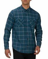 Hurley Mens Shirt Blue Force Size 2XL Button Down Pitfire Plaid Flannel $55 177
