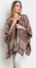 Umgee Western Poncho Wrap Tribal Sweater Geometric Batwing Sleeve Brown A1694