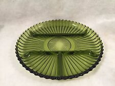 Indiana Glass Green Round Ribbed 4 Sectioned Relish Plate
