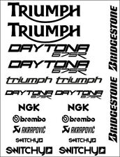KIT ADESIVI GRAFICHE STICKERS MOTO SPONSOR BLACK CARENE TRIUMPH DAYTONA 675 675R