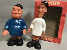 Vintage Laurel And Hardy Plastic Toy Dolls Figurines Stanlio Olio Box Rare
