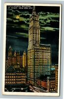 New York City NY, Woolworth Building At Night, Vintage New York Postcard