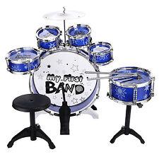 Children Kids 6 Drum Set Kit Musical Fun Toy Drum Stool Blue & Sticks