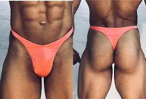 mens light coral orange spandex thong w seam/pouch front custom made any sz