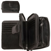 Ladies Soft Leather Purse with Multiple Compartments Black Bifold Style Wallet