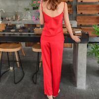 Womens Sleepwear Set Eyelash Lace Cami Top Long Pants Pajamas Sling Loungewear