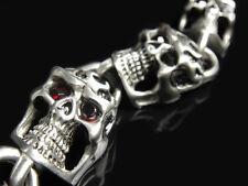 RED CZ Eye Silver Chain Fire Flame SKULL Bracelet for Harley Davidson Biker 100