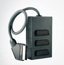 Schwaiger distributore scart a 3 vie triplo cablato 21-P cod. SCV7030 nuovo nero