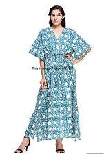 Beach Wear Indian Pure Cotton Hand Block Floral Design Loose Hippie Dress V Neck
