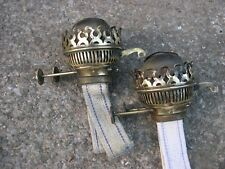 SPARE PAIR BRASS BRITISH MAKE DUPLEX KEROSENE OIL LAMP BURNERS WORKING + WICKS