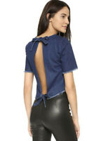 NICHOLAS Denim Asymmetric Tie Back Top Indigo Blue denim  Size 8 NWOT $200