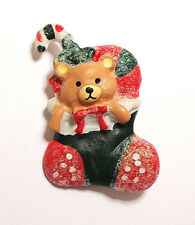 With Candy Cane Brooch Pin Plastic Christmas Holiday Teddy Bear In Stocking