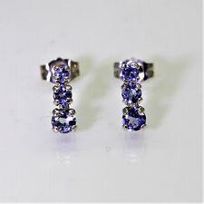 9ct 9k White Tanzanite Trilogy Stud Earrings