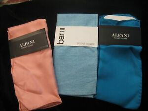 Bar lll + Alfani Men's  Solid Pocket Square Hankie New lot of 3 # 1571