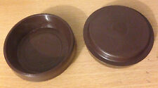 100 X LARGE BROWN CASTOR CUP FLOOR PROTECTOR GLIDE CUPS