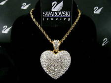 """Signed Swarovski Pave' Crystal Heart Necklace Retired Rare 19"""" Chain Nwt"""
