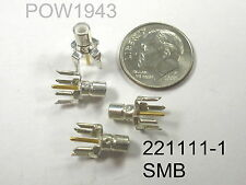 ( 10 PC. ) AMP/TYCO SMB JACK 221111-1 FEMALE RF CONNECTOR PCB MOUNT