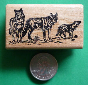 Wolf Pack, wood mounted rubber stamp