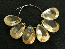 Natural Light Beer Quartz Concave Pear Briolette Gemstone Beads 003