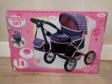 Bayer Trendy Baby Dolls Pram in Navy Blue & Pink Hearts Kids Girls Toy Buggy Set