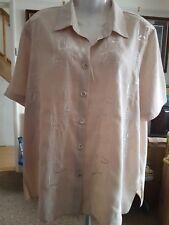 Your 6th Sence Beige Embroidered Short Sleeved Blouse size 22 (AV11-5)
