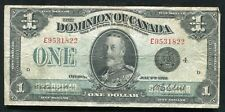 "DC-25o 1923 $1 ONE DOLLAR DOMINION OF CANADA BANKNOTE ""BLACK SEAL"" VF"