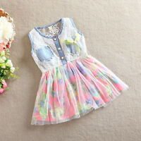 Baby Girls Kids Party Denim Blue Floral Lace A-Line Tulle Tutu Gown Dress 2-6Y