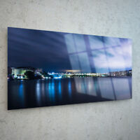 ANY SIZE Wall Art Glass Print Canvas Picture Night View Landscape Urban p26510