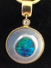 Unique Australian Solid Opal Seeded into Pearl Pendant 14ct Gold Argyle Diamond