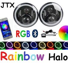 "JTX 7"" LED Headlights RGB Rainbow Halo  Nissan Patrol GQ Ford Maverick MQ G60"