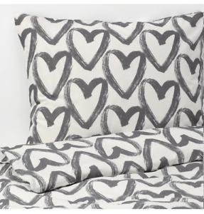 NEW Ikea Twin Duvet Cover & Pillowcase White Gray Hearts Dorm Bed Set LYKTFIBBLA