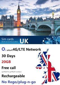 UK travel 28 days 40GB prepaid sim GiffGaff O2 4G unlimited UK local call