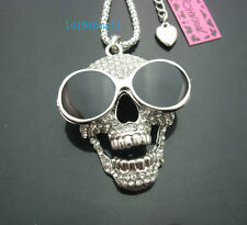 H578   Betsey Johnson  Silver Tone w/Crystal glasses Skull Pendant Necklace