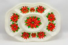 Vintage Christmas Poinsettia Red & White Divided Snack Tray Party Platter