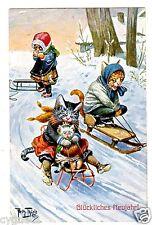 POSTCARD THIELE CATS SLEDDING NEW YEAR GREETING T.S.N. 1194