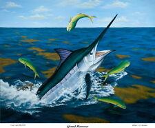 Blue Marlin sport fishing art painting print, like Guy Harvey Don Ray