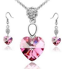 WHITE GOLD PLATED PINK HEART DROP AUSTRIAN CRYSTAL NECKLACE SET