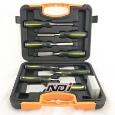 9 PIECE CHISEL SET CARRY CASE WOODWORKING SHARPENING STONE ND-0211