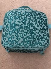 """Used Gymboree """"CHEETAH LUNCH TOTE BAG"""" Glitter Sparkle Turquoise Fully Insulated"""
