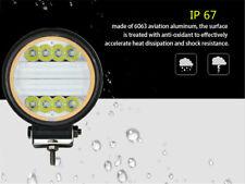 1 Pair 120W 9600LM LED Round White+Amber Work Light Flood Beam Fog Lamp + DRL